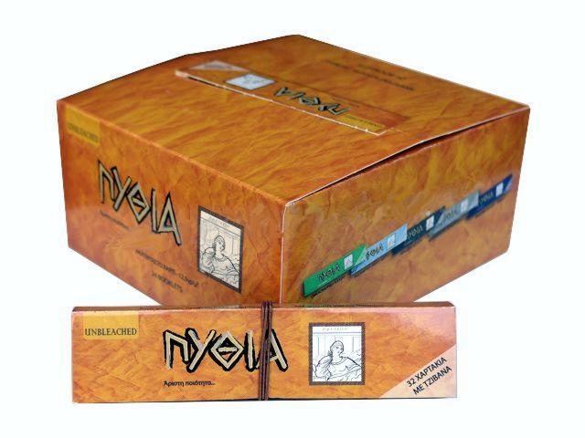 2633 - Κουτί με 24 χαρτάκια στριφτού Πυθία ακατέργαστο King Size με τζιβάνες