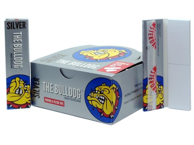 8185 - Κουτί με 24 Χαρτάκια στριφτού THE BULLDOG PAPERS AND FILTER TIPS KING SIZE SILVER SLIM Hemp