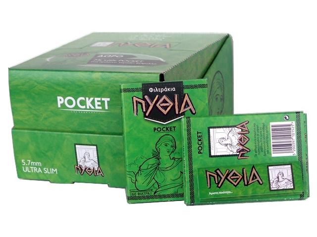 5644 - Κουτί με 24 φιλτράκια Πυθία POCKET ULTRA SLIM 5.7mm 60 & Χαρτάκια Πυθία πράσινα δώρο
