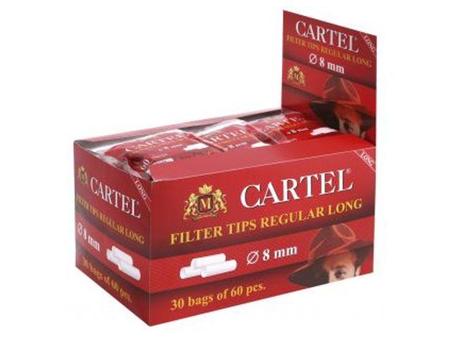 2436 - Κουτί με 30 φιλτράκια Cartel Filter Regular Long 8mm με 60 φίλτρα το σακουλάκι και πολύ μακρύ φίλτρο 22mm