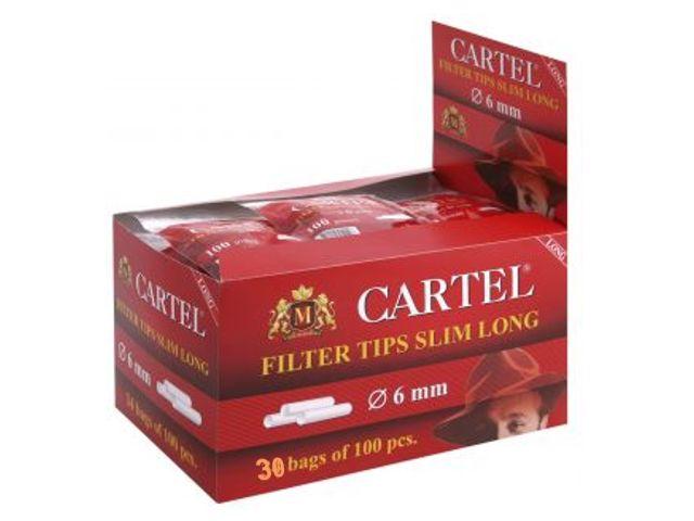 Κουτί με 30 φιλτράκια Cartel Filter Slim Long 6mm με 100 φίλτρα το σακουλάκι και πολύ μακρύ φίλτρο 22mm