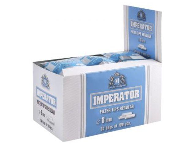 2438 - Κουτί με 30 φιλτράκια IMPERATOR Regular 8mm με 100 φίλτρα το σακουλάκι και φίλτρο 15mm
