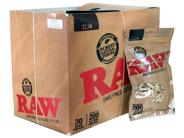5085 - Κουτί με 30 φιλτράκια στριφτού RAW 200 BAG SLIM UNREFINED CELLULOSE (ακατέργαστα)