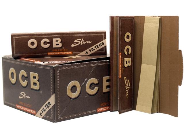 Κουτί με 32 χαρτάκια στριφτού OCB King Size Slim Virgin Unbleashed and Filters 24/32