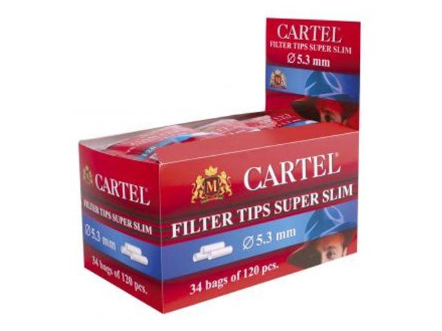 2435 - Κουτί με 34 φιλτράκια Cartel Super Slim 5.3mm με 120 φίλτρα το σακουλάκι και φίλτρο 15mm
