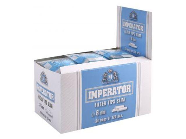 2437 - Κουτί με 34 φιλτράκια IMPERATOR Slim 6mm με 120 φίλτρα το σακουλάκι και φίλτρο 15mm