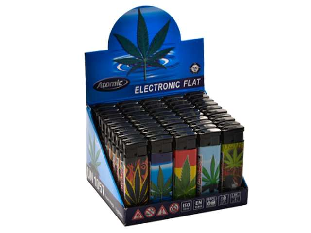 Κουτί με 50 αναπτήρες Atomic Electronic Lighter Flat Softflame Refillable Maria €0.26 ο ένας