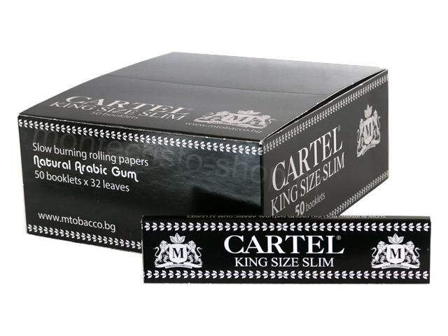 Κουτί με 50 χαρτάκια στριφτού Cartel Black King Size Slim 14gsm