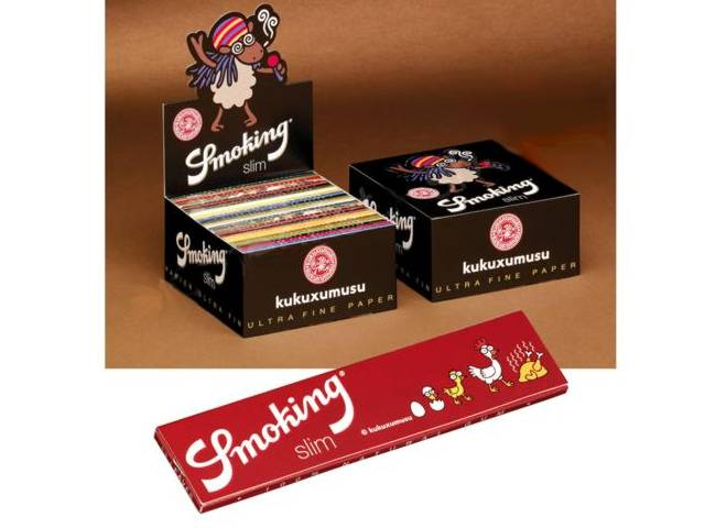 2897 - Κουτί με 50 χαρτάκια στριφτού KUKUXUMUSU by Smoking King Size 110mm (σε 18 σχέδια)