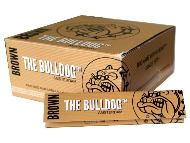 3044 - Κουτί με 50 χαρτάκια στριφτού THE BULLDOG Brown Unbleached KING SIZE Ακατέργαστα