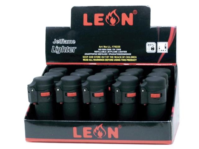 11321 - LEON 170225 JETFLAME BLACK LIGHTER ΒΑΡΕΛΑΚΙ αναπτήρας αντιανεμικός (κουτί 15 τεμ)