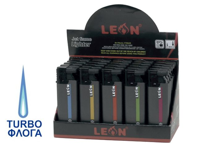 11456 - LEON 170645 JETFLAME STYLE BLACK TURBO αναπτήρας αντιανεμικός (κουτί των 25)