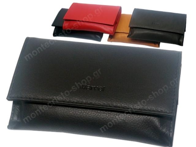 8022 - MARVEL 1268 (μαύρο ταμπά κόκκινο καφέ) δερμάτινη καπνοθήκη