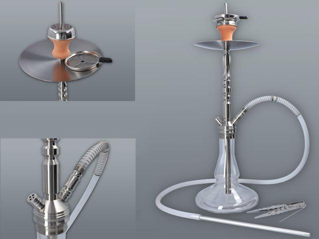 11574 - Ναργιλές MADO EXCLUSIVE HOOKACH STAINLESS & GLASS 65cm 665-5600