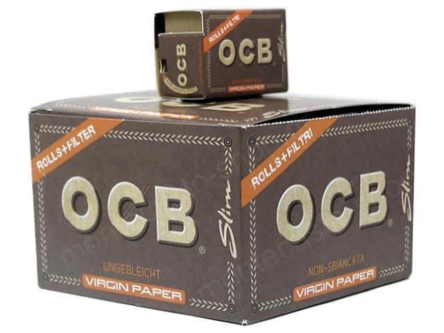 9038 - OCB ROLLS+FITER TIPS VIRGIN PAPER SLIM UNBLEACHED (κουτί των 16)