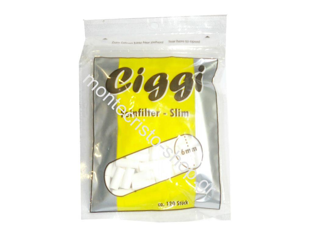 Φιλτράκiα CIGGI slim 6mm σε σακουλάκι των 120 τεμ