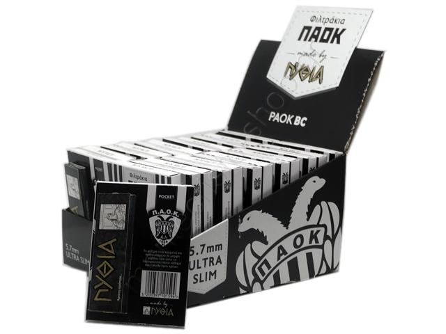 8916 - Φιλτράκια ΠΑΟΚ POCKET ULTRA SLIM 5.7mm 60 & Χαρτάκια ΠΥΘΙΑ ΜΑΥΡΑ by ΠΥΘΙΑ (κουτί με 24 τεμάχια)