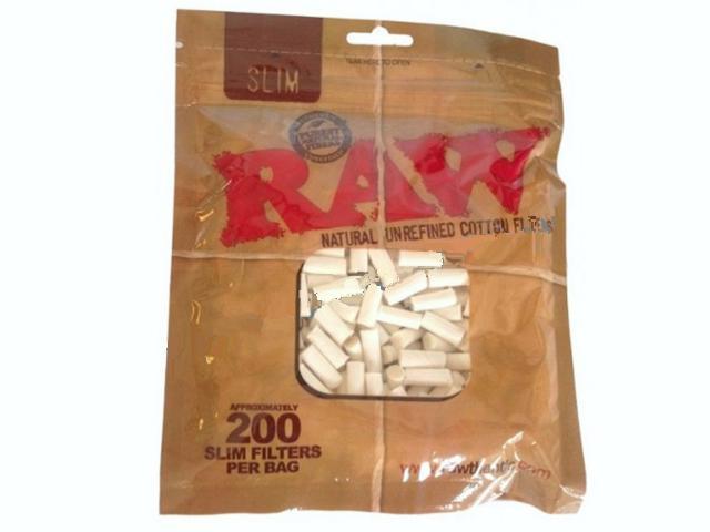 1154 - Φιλτράκια RAW 100% ακατέργαστο Βαμβάκι Slim 6mm (200 φιλτράκια)