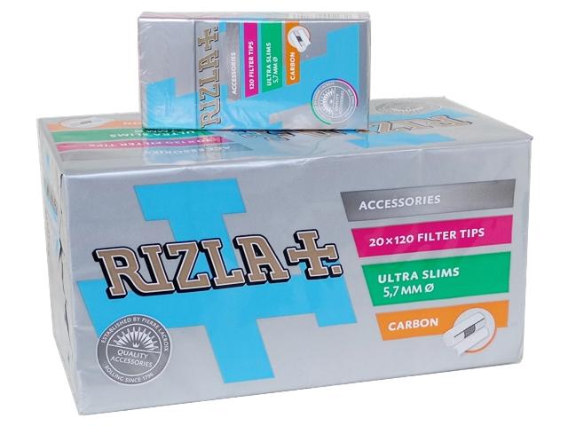 1103 - Φιλτράκια Rizla CARBON ultra slim ενεργού άνθρακα κουτί 20 τεμάχια
