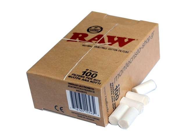 2474 - Φιλτράκια στριφτού Raw Regular Κανονικό 8mm (100 φιλτράκια)