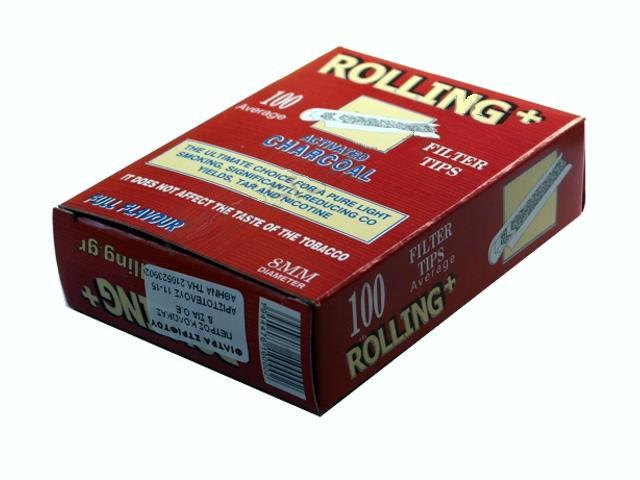 Φιλτράκια στριφτού Rolling 47610 ενεργού άνθρακα για κανονικό τσιγάρο 8mm 100 τεμάχια