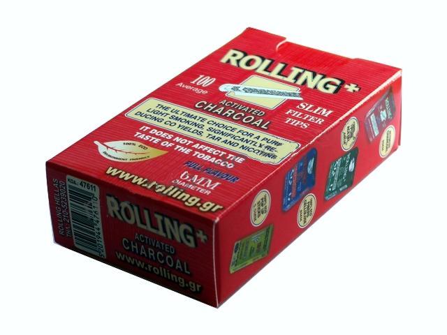 Φιλτράκια στριφτού Rolling 47611 Slim ενεργού άνθρακα 6mm 100 τεμάχια