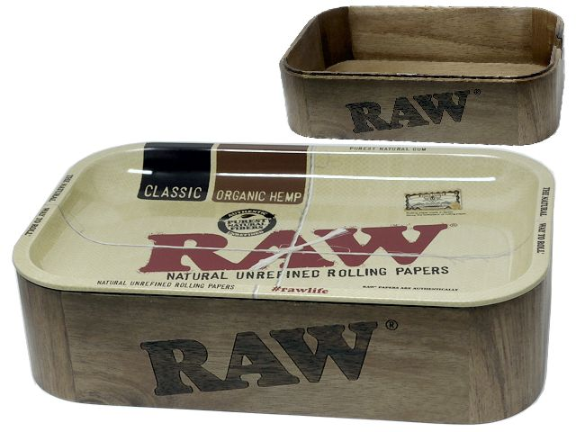 11172 - RAW WOODEN CASHE BOX WITH TRAY
