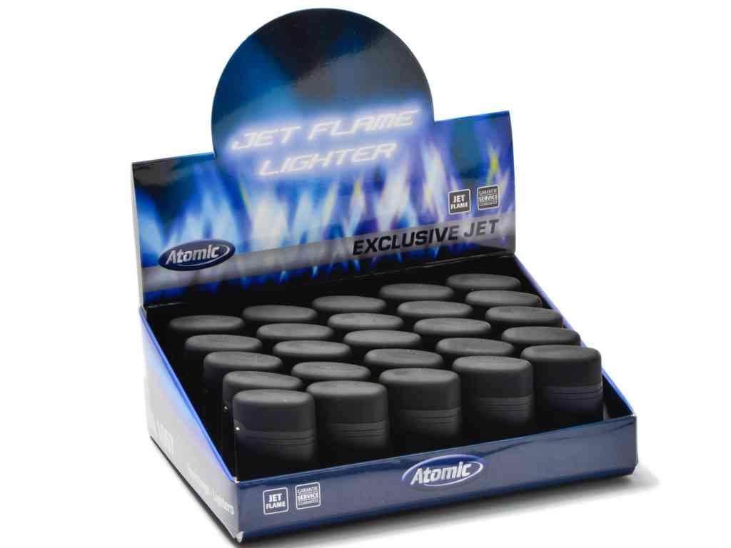 Σετ με 25 αναπτήρες φλόγιστρο Atomic Electronic Lighter Jetflame Refillable Black με καπάκι και τιμή 1.10 ο αναπτήρας