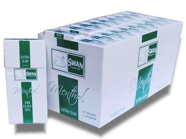 Φιλτράκια Swan Extra Slim Μέντα 5.7mm κουτί 20 τεμαχίων
