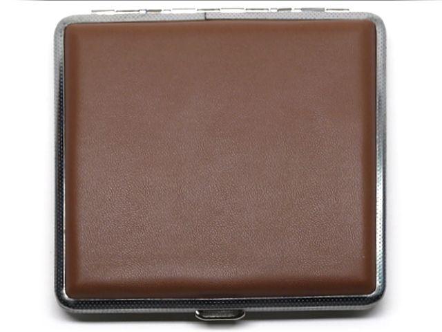 10369 - Ταμπακιέρα για 18-20 τσιγάρα 300Β μεταλική, καφέ ακρυλική επικάλυψη