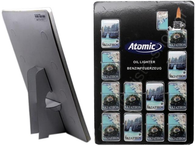 8956 - Τουριστικοί αναπτήρες Atomic SKIATHOS μεταλλικοί με φιτίλι (καρτέλα με 12 τεμάχια)