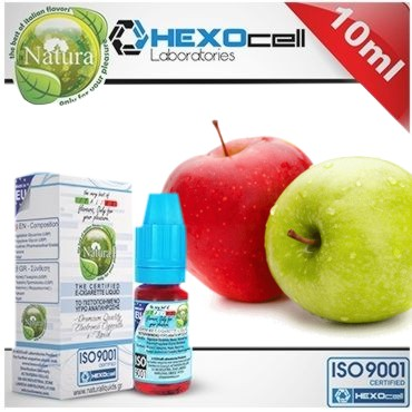 6590 - Υγρό αναπλήρωσης Natura RED & GREEN DOUBLE APPLE από την Hexocell (πράσινο και κόκκινο μήλο) 10 ml